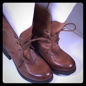 """Shoes - Great pair soft leather ankle tie up 2"""" heel boots"""